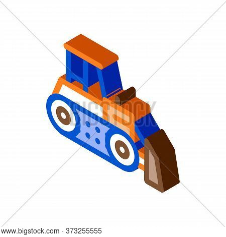 Road Repair Bulldozer Icon Vector. Isometric Road Repair Bulldozer Sign. Color Isolated Symbol Illus