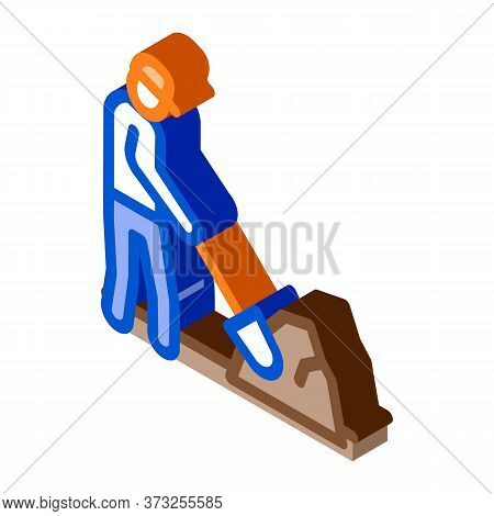 Worker Digging Icon Vector. Isometric Worker Digging Sign. Color Isolated Symbol Illustration