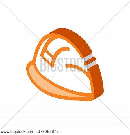 Builder Heavy Helmet Icon Vector. Isometric Builder Heavy Helmet Sign. Color Isolated Symbol Illustr