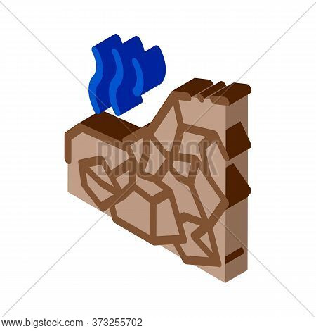 Mountain Collapse Icon Vector. Isometric Mountain Collapse Sign. Color Isolated Symbol Illustration