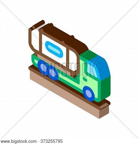 Juice Concentrate Delivering Truck Icon Vector. Isometric Juice Concentrate Delivering Truck Sign. C