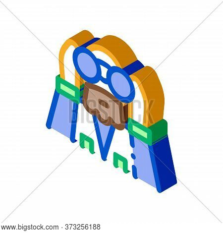 Forester Looking Binoculars Icon Vector. Isometric Forester Looking Binoculars Sign. Color Isolated