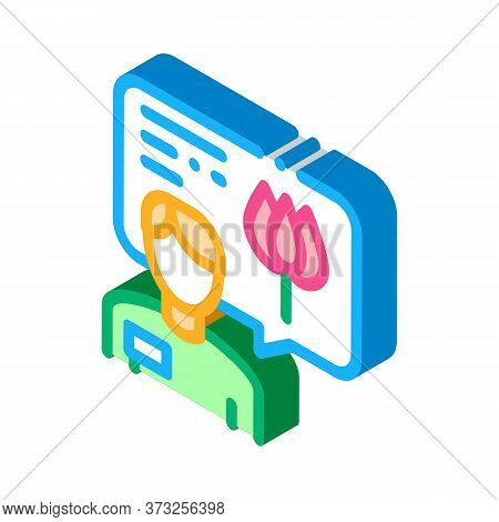 Flower Shop Seller Consultant Icon Vector. Isometric Flower Shop Seller Consultant Sign. Color Isola