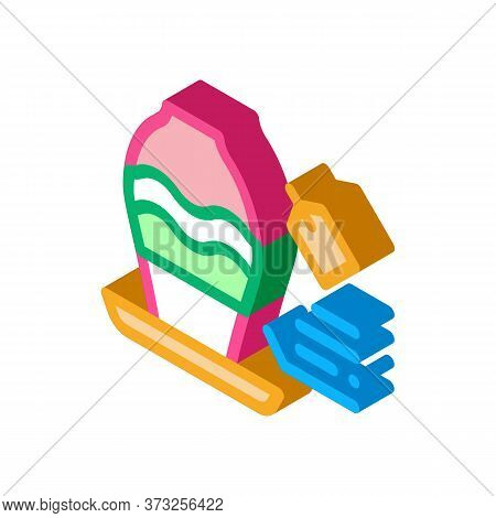 Flower Shop Selling Vase Icon Vector. Isometric Flower Shop Selling Vase Sign. Color Isolated Symbol