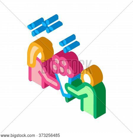 Guy Give Flowers To Girl Icon Vector. Isometric Guy Give Flowers To Girl Sign. Color Isolated Symbol