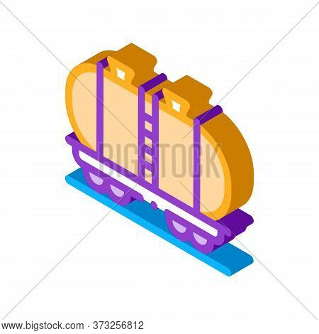 Oil Product Carriage Wagon Icon Vector. Isometric Oil Product Carriage Wagon Sign. Color Isolated Sy