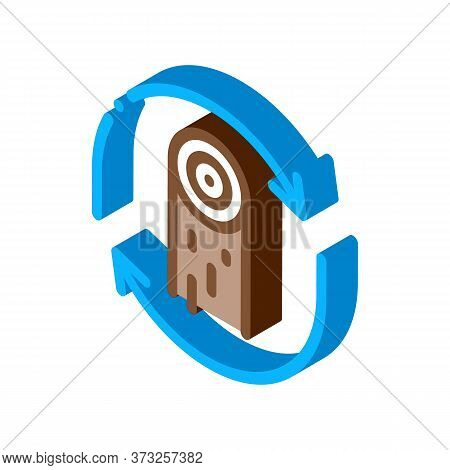 Wood Material Cicle Icon Vector. Isometric Wood Material Cicle Sign. Color Isolated Symbol Illustrat