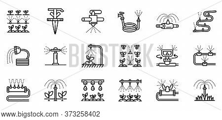 Irrigation System Icons Set. Outline Set Of Irrigation System Vector Icons For Web Design Isolated O