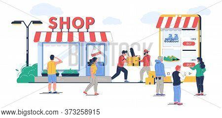 Offline To Online Commerce Vector Flat Illustration