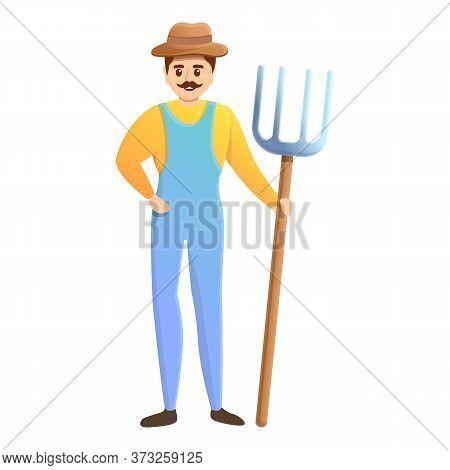 Happy Farmer With Fork Icon. Cartoon Of Happy Farmer With Fork Vector Icon For Web Design Isolated O