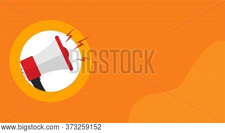 Megaphone Loud Speaker Attention Important Information Message Banner Or Loudspeaker Caution Alert N
