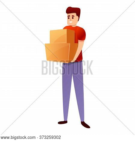 Smiling Courier With Boxes Icon. Cartoon Of Smiling Courier With Boxes Vector Icon For Web Design Is