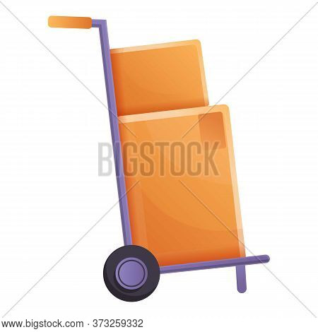 Parcel Cart Icon. Cartoon Of Parcel Cart Vector Icon For Web Design Isolated On White Background