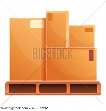 Parcel Box On Pallet Icon. Cartoon Of Parcel Box On Pallet Vector Icon For Web Design Isolated On Wh