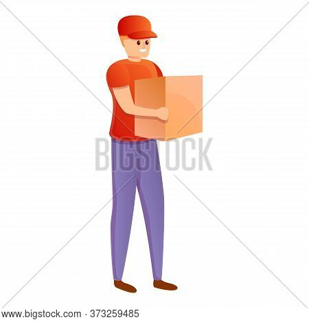 City Parcel Delivery Icon. Cartoon Of City Parcel Delivery Vector Icon For Web Design Isolated On Wh