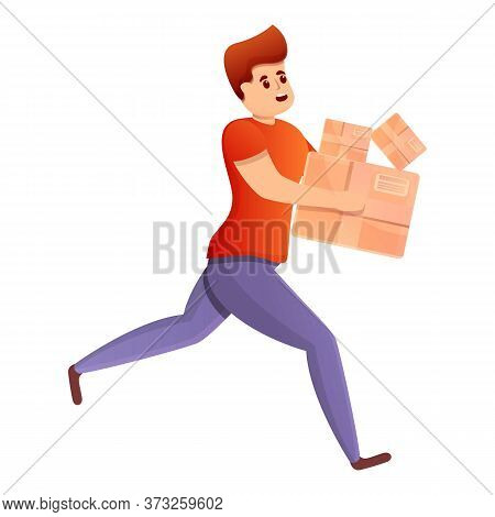 Running Quickly Courier Icon. Cartoon Of Running Quickly Courier Vector Icon For Web Design Isolated