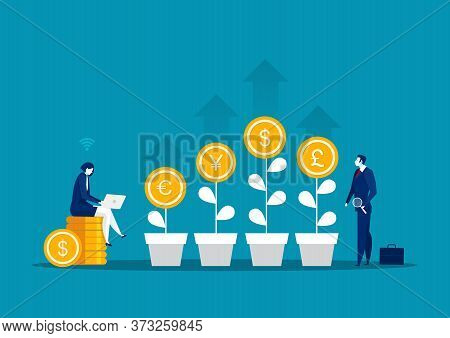 Businesswoman Analyst Inflation Money And Money Exchange Concept.