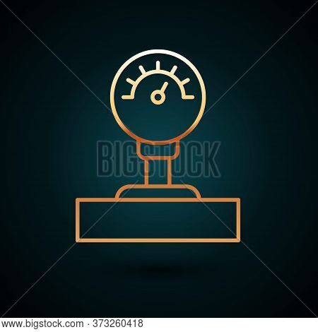 Gold Line Gauge Scale Icon Isolated On Dark Blue Background. Satisfaction, Temperature, Manometer, R