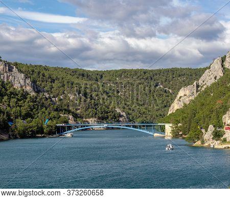 Second Smaller Blue Bridge Over The River Krka, Near Town Of Skradin In Croatia