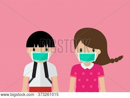 Children Wearing Medical Masks. People Wearing A Protective Medical Mask For Prevent Virus Covid-19.