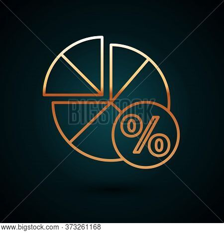 Gold Line Math System Of Equation Solution On Speech Bubble Icon Isolated On Dark Blue Background. V