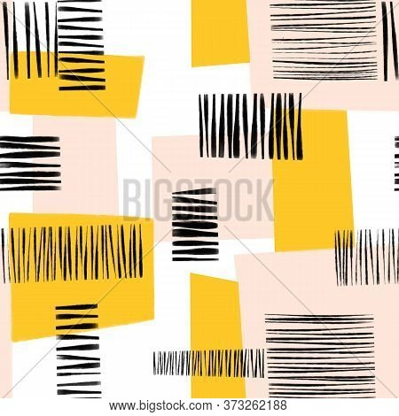 Abstract Collage Seamless Pattern. Contemporary Art Seamless Geometric Block Shapes Background. Abst