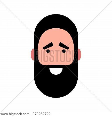 Vector Illustration Of A Smiling Bearded Man. Portrait Of Handsome Cheerful Bearded Face. Avatar, Pr