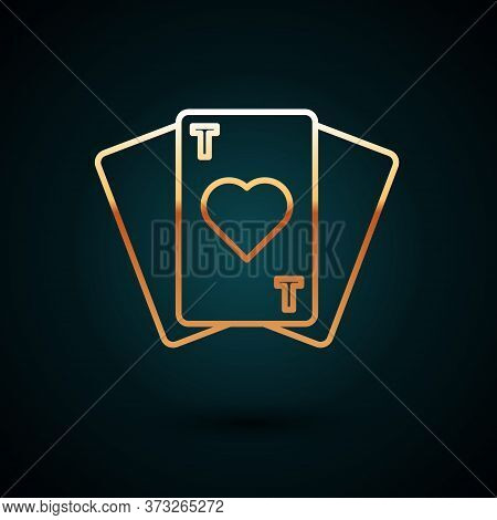 Gold Line Playing Cards Icon Isolated On Dark Blue Background. Casino Gambling. Vector Illustration