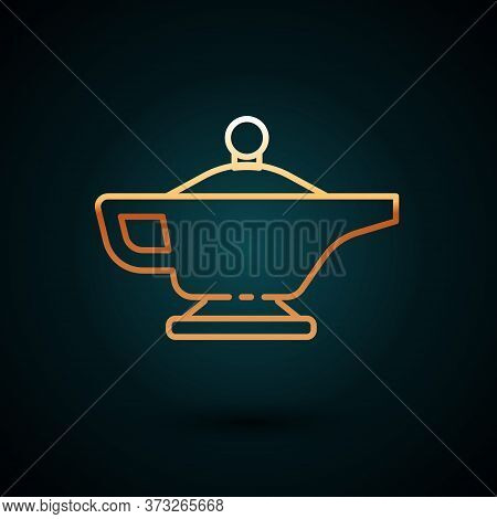 Gold Line Magic Lamp Or Aladdin Lamp Icon Isolated On Dark Blue Background. Spiritual Lamp For Wish.
