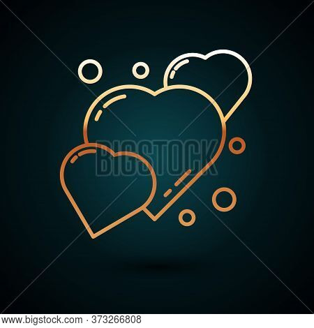 Gold Line Heart Icon Isolated On Dark Blue Background. Romantic Symbol Linked, Join, Passion And Wed
