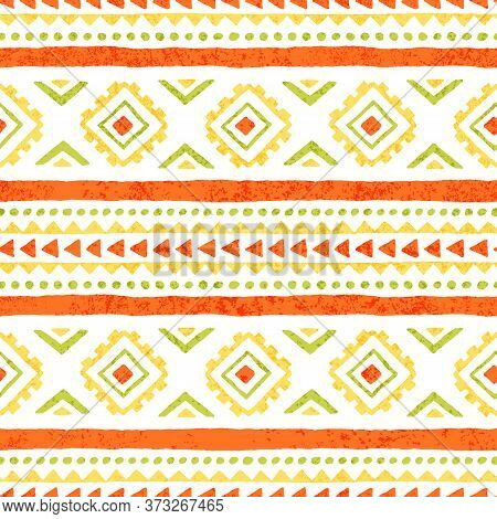 Seamless Ethnic Ornament. Aztec And Tribal Motifs. Ornament Drawn By Hand. Yellow, Green, White And