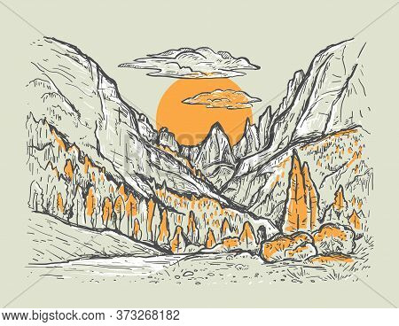 Autumn Hand Drawn Sketch Illustration With A Canyon, Trees And Yellow Sun. Nature Vintage Vector Lan