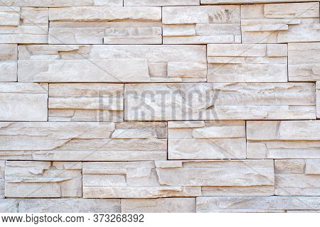 Stone Wall Made Of Rocks With Different Size Rectangles