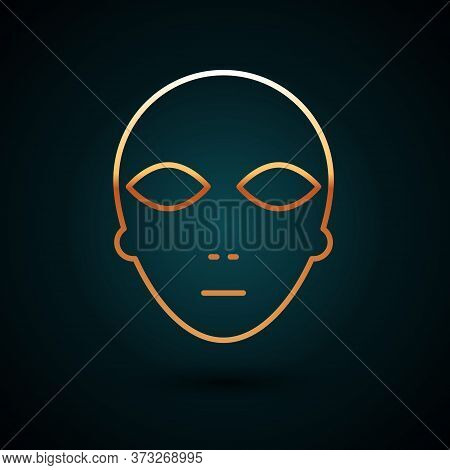 Gold Line Alien Icon Isolated On Dark Blue Background. Extraterrestrial Alien Face Or Head Symbol. V
