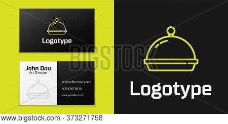 Logotype Line Covered With A Tray Of Food Icon Isolated On Black Background. Tray And Lid. Restauran