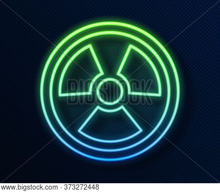 Glowing Neon Line Radioactive Icon Isolated On Blue Background. Radioactive Toxic Symbol. Radiation