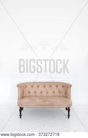 Vertical Photo Of Modern Sofa On White Background