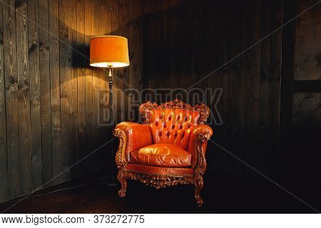 Modern Brown Armchair With Brown Lamp