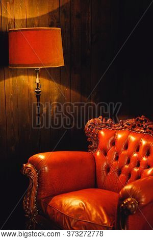 Photo Shot Details Of Modern Brown Armchair With Brown Lamp