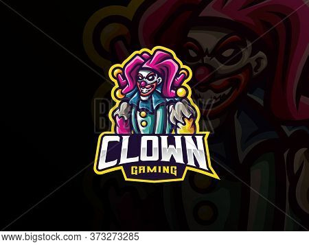 Clown Mascot Sport Logo Design. Creepy Clown Vector Illustration Logo. Clown Mascot Design, Emblem D