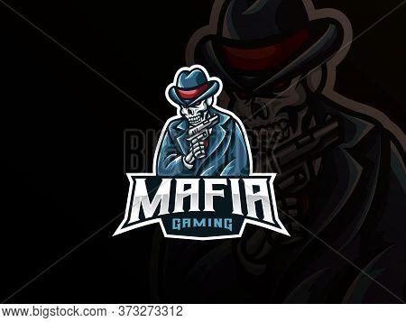 Mafia Skull Mascot Sport Logo Design. Gangster Skull Mascot Vector Illustration Logo. Skull Mascot W