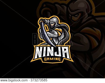 Ninja Mascot Sport Logo Design. Ninja Warrior Mascot Vector Illustration Logo. Assassin Mascot Desig