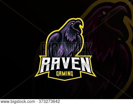 Raven Mascot Sport Logo Design. Bird Animal Mascot Vector Illustration Logo. Wild Crow Mascot Design