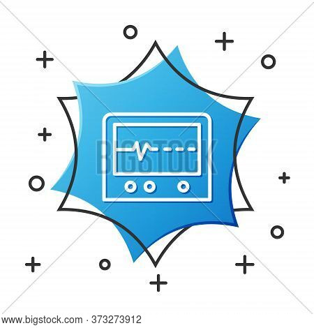 White Line Beat Dead In Monitor Icon Isolated On White Background. Ecg Showing Death. Blue Hexagon B