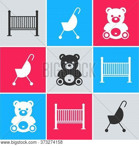 Set Baby Crib Cradle Bed, Baby Stroller And Teddy Bear Plush Toy Icon. Vector