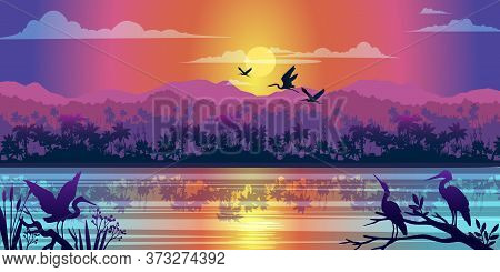 Horizontal Tropical Landscape With Jungle, River, Mangrove Reflection, Sunrise And Birds Outlines. R