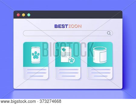 Set Clipboard With Medical Clinical Record Pet, Online Veterinary Clinic Symbol And Canned Food Icon