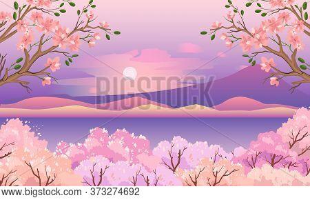 Oriental Spring Background With Hills, Lake, Sun, Mountain, Sakura In Bloom. Stock Japanese Garden I