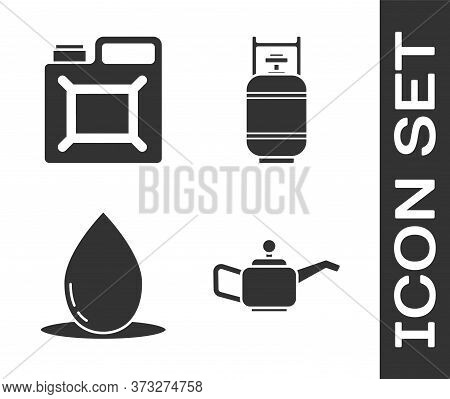 Set Canister For Motor Machine Oil, Canister For Gasoline, Oil Drop And Propane Gas Tank Icon. Vecto