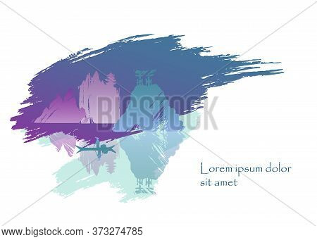 Vector Asian Abstract Landscape With Lake, River, Rocks, Copy Space, Pagoda And Boat. Japanese View